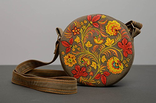 Bolso de tela redondo con asa larga con pintura