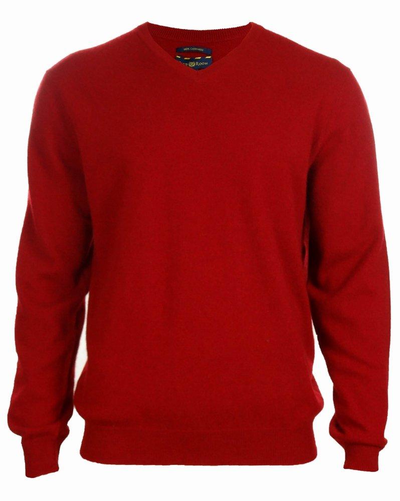 Men's 100% Cashmere Solid V-Neck Sweater (M, Regatta Red)