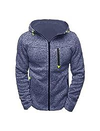Men's Casual Hooded Sports Coat Slim Pullover Hoodies Full Zip Sweatshirts Jacket Plus Size M-2XL