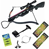 Hunting Crossbow - 150 lb Black Hunting Crossbow Bow +4x32 Scope +14 Arrows +Quiver +3 Broadheads +Rope Cocking Device +Stringer 180 80 lbs