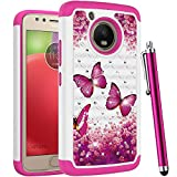 CAIYUNL for Moto E4 Case, Moto G5 Case for Women Girls Bling Studded Rhinestone Dual Layer Phone Case Protective Shockproof Heavy Duty Hard Cover for Motorola Moto E 4th Generation-Hot Pink Butterfly