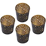 "Heart Tealight Holders GREAT DEALS - 2.5"" Metal Black Votive Tea Light Candle Stand / Holder ( PACK 4 ) for Home / Yard Decor / Parties & Wedding Decorations by SouvNear"