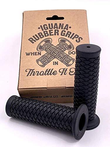IGUANA Custom – rubberen handgrepen voor motorfiets IGUANASKIN (zwart, 7/8 inch (22 mm)
