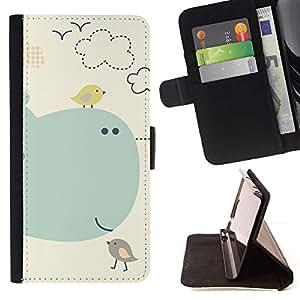 For LG G4 Case , Los pájaros de la historieta de los niños Los niños de la ballena del Mar- la tarjeta de Crédito Slots PU Funda de cuero Monedero caso cubierta de piel