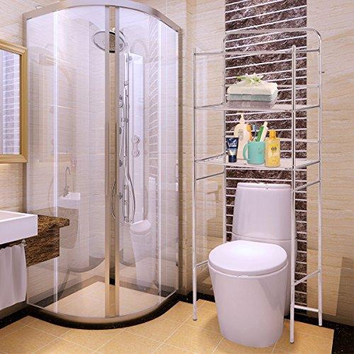Moon Daughter 3-Tier Over The Toilet Space Saver Bathroom Storage Shelf Rack Organizer Chrome 18.5 lbs Capacity per Tier