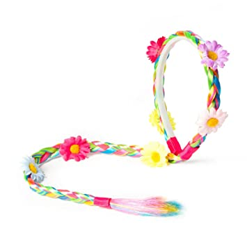 Claire s Accessories Rainbow Faux Hair Braid Headband with Flowers by  Claire s  Amazon.co.uk  Beauty b883bbfa300