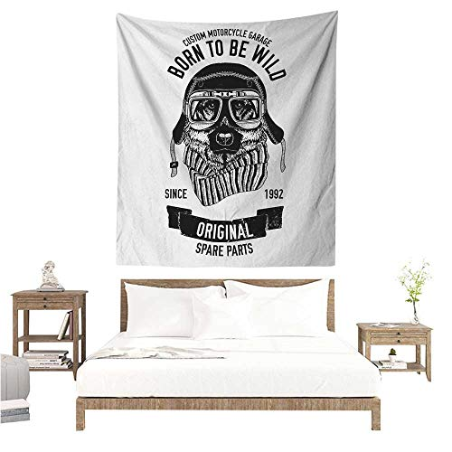 Wall Hanging Tapestry Modern Born to be Wild Quote with A Cool Dog Motorcycle Helmet Puppy Rider Animal Graphic 51W x 60L INCH Suitable for Bedroom Living Room Dormitory