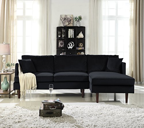 Mid-Century Modern Brush Microfiber Sectional Sofa, L-Shape Couch with Extra Wide Chaise Lounge ()