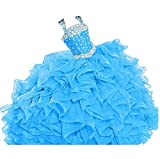 WZY Girls Crystal Beaded Ruffled Party Christmas Ball Gown Princess Pageant Dress (16, Light Blue)