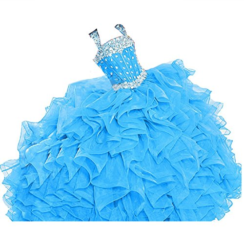 WZY Girls Crystal Beaded Ruffled Party Christmas Ball Gown Princess Pageant Dress (16, Light Blue) by WZY