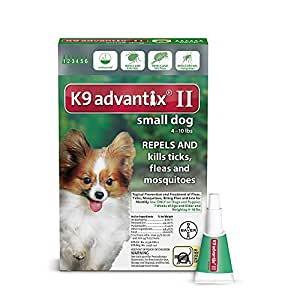 Bayer K9 Advantix II Flea, Tick and Mosquito Prevention for Small Dogs 4 - 10 lbs, 6 doses