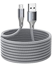Micro USB Cable 16.4ft, Long high-Quality and Durable Nylon Braided Charging Cable, USB to USB2.0 Compatible with Samsung HTC, Android, PS4, Sony, Sony, Moto, Nokia, Windows, etc. (Gray)