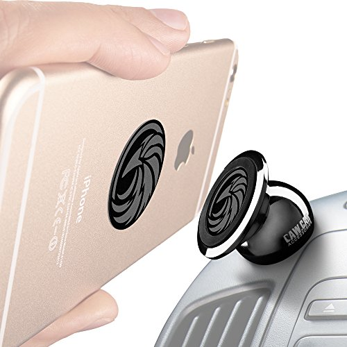 CAW.CAR Accessories Unknown Universal Magnetic Car Mount for Any Phone, GPS or Light Tablet Stylish Black Chrome One-Hand & One-Sec Dash Holder, 100 to Safeness & Comfort