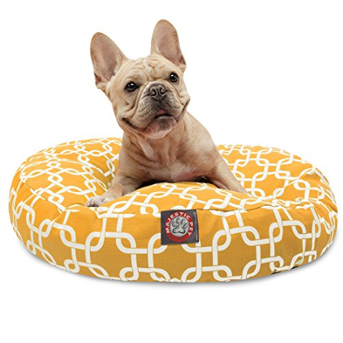 Yellow Links Small Round Indoor Outdoor Pet Dog Bed With Removable Washable Cover By Majestic Pet Products by Majestic Pet