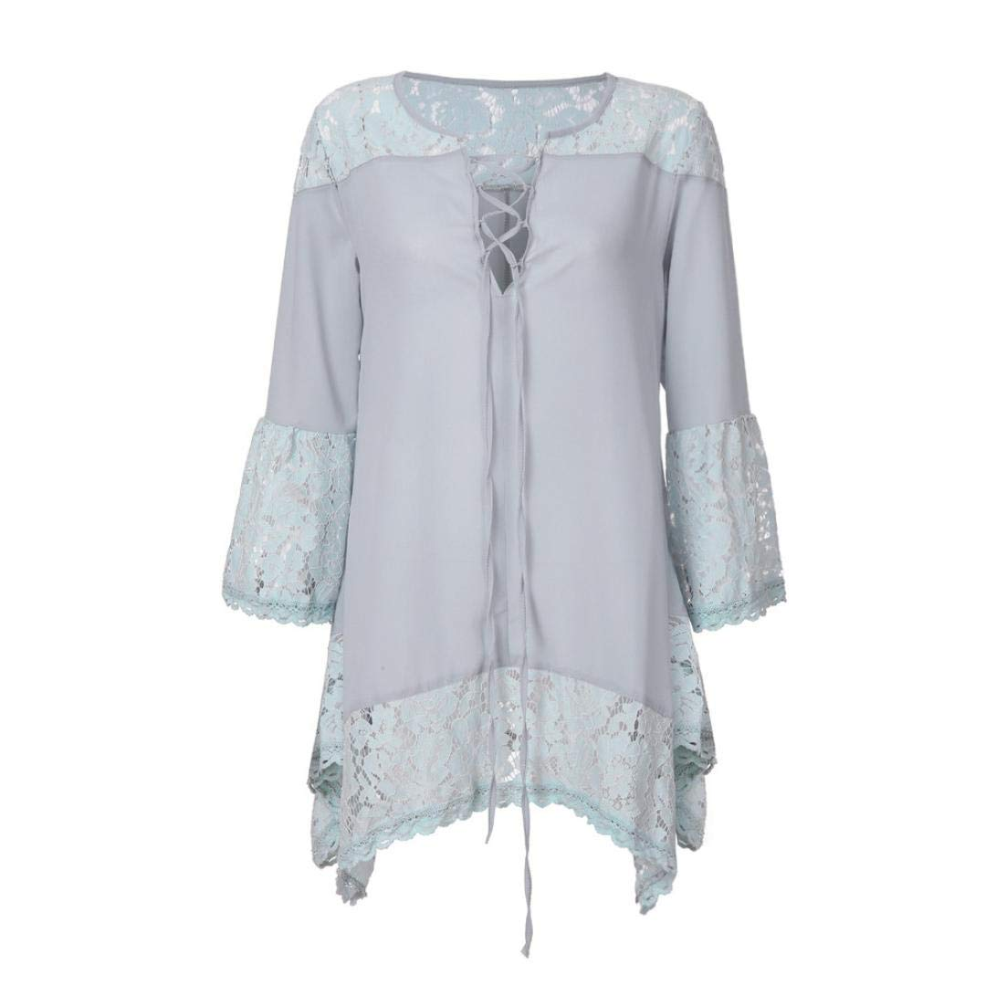 Longra 2018 Nuevo diseño Elegante para Las Mujeres Suelto Tres Cuartos con Cuello en V Camisetas Tops Blusa de Encaje: Amazon.es: Deportes y aire libre