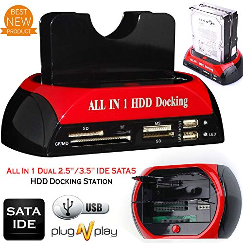 HDD Docking Station IDE SATA Dual USB 3.0 Clone Hard Drive Card Reader 2.5 / 3.5 Pouces IDE Et SATA I / II HDD SSD Avec One Touch Backup
