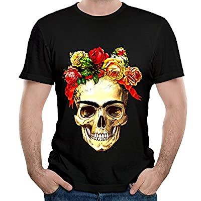 Frida Kahlo Artis Surrealism Flower Skull Male Tops T Shirts Comfortable Political Shirts Black