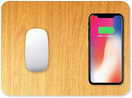 iPhone X Nexus 5//6//7 /& All Qi-Enabled Devices with USB Cable Samsung Galaxy Note 5//S6 Edge Wireless Charging Mouse Pad 2 in 1 Mat with Qi Wireless Charger Compatible IPhone8 /& Plus