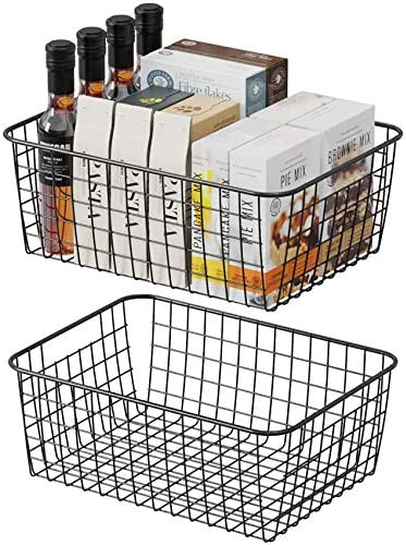 Wire Storage Basket, F-color 2 Pack Medium Metal Household Storage Organizer Bin with 2 Built-in Handles for Pantry, Shelf, Freezer, Kitchen Cabinet, Bathroom, Black