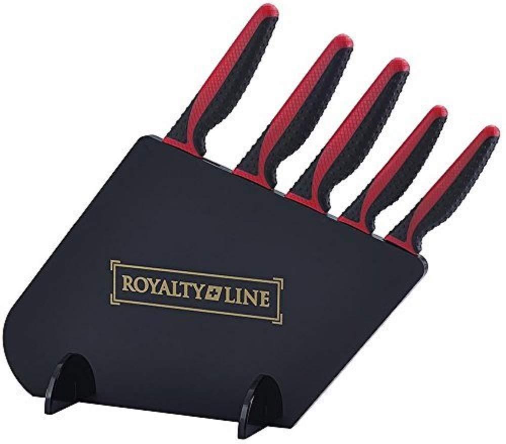Royalty Line - Juego de 5 cuchillos con soporte (color negro ...