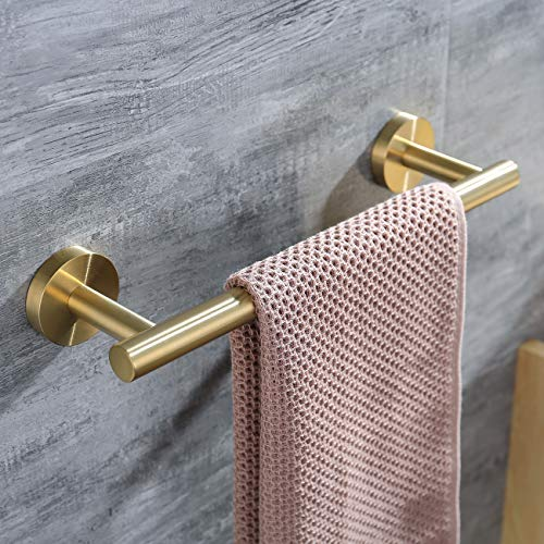 (Hoooh 12-Inch Towel Bar Stainless Steel Hand Towel Holder for Bathroom or Kitchen Wall Mount, Brushed Gold,)