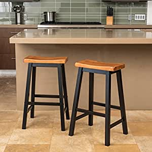 Amazon Com Home Pomeroy Saddle Wood Barstool Set Of 2