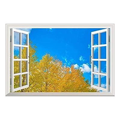 Yellow Pine Tree Clear Sky Open Window Mural Wall Sticker 36
