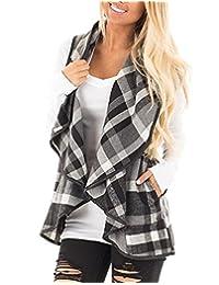 BIUBIU Womens Casual Lapel Open Front Sleeveless Plaid Vest Cardigan with Pocket