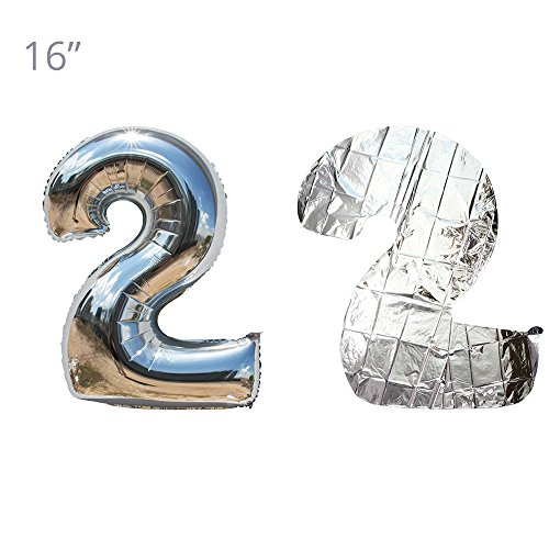 16 Inch 0-9 Number Balloons Thickening Foil Digital Mylar Balloons for Party Decorations Party Supplies (Silver Number 2)