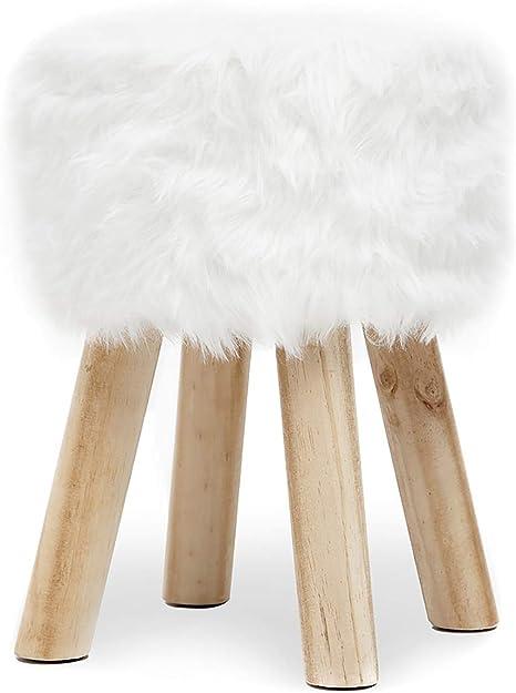 a 4 Gambe Decorativo Bianco Rotondo Poggiapiedi Liscio Imbottito Relaxdays Sgabello in Similpelle HxD: 30 x 31 cm