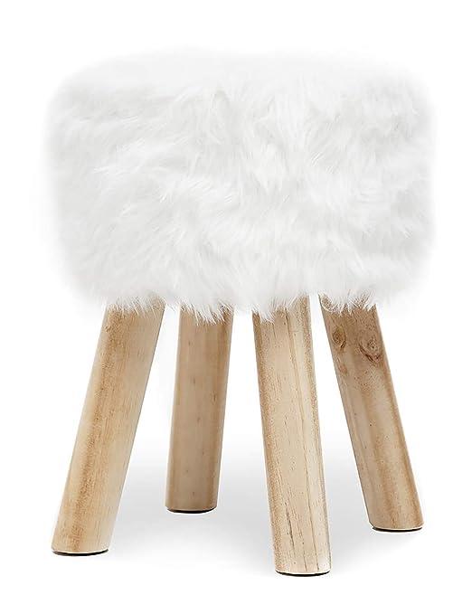 Suhu Redondo Puff Baúl Taburete Otomana Asiento Elegante imitación Piel Sintética Patas de Madera Maciza Asiento Blanco