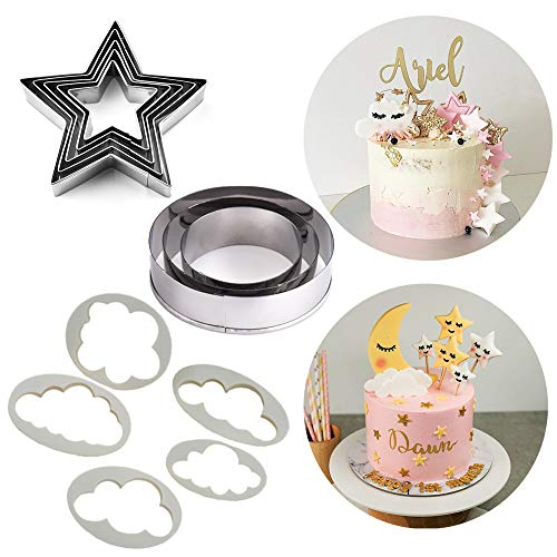 SAKOLLA Twinkle Twinkle Little Star Cake Decoration kit - Stars/Cloud/Moon Circle Cookie Cutters for Baby Shower, 1st Birthday, Wedding Party, First Birthday Cake Topper, Set of 13