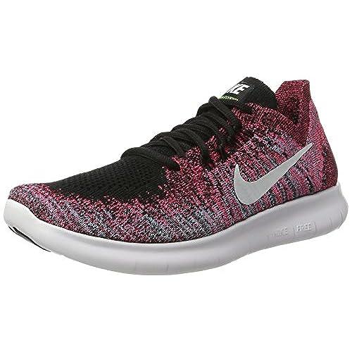 8132f86b04b1d5 Nike Women Free Rn Flyknit 2017 Running black white-racer pink-gamma blue  Size