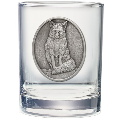 Heritage Pewter Fox Double Old Fashioned Glass Set of 2 ()