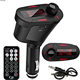 Se7enline Car Kit MP3 Player Wireless FM Transmitter Modulator with USB/SD/Card Reader MMC Slot and Remote Control (Red)