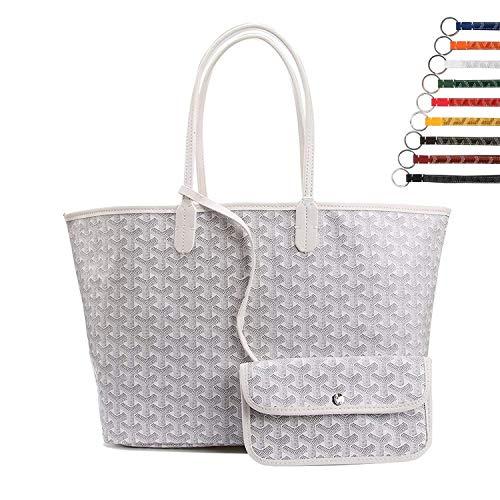 Stylesty Fashion Shopping PU Tote Bag, Designer Shoulder Handbags with Key Ring … (Medium, White1) by Stylesty (Image #1)