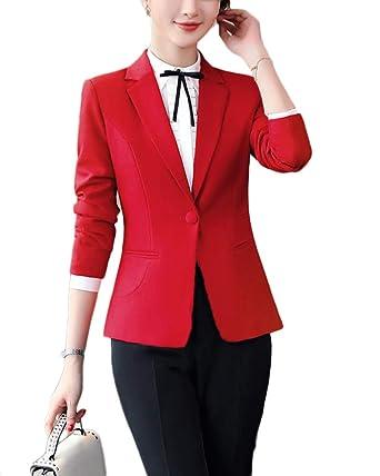Blazer, Mujer Manga Larga Casual OL Corto Chaqueta de Traje Rojo M ...
