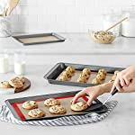 HANTAJANSS Silicone Baking Mat Set of 4, Half Sheets Cooking Macaron Pastry Mats, Professional Non-Stick Large Liner 11 5/8 ×16 1/2 12 THE PERFECT HELPER FOR BAKING: HANTAJANSS Bake mat set of 4 includes 3 most popular daily-use size baking sheets and a bonus oil brush. Solving all baking problems in this time! HIGH-TEMPERATURE RESISTANCE: Oven-safe -45 degrees F up to 480 degrees F! High-quality silicone distribute heat evenly along with the entire baking sheet. NON-STICK: Oil free. Fits half-sheet size pans. Bake food like a professional chef in your own home. No scorching food stick on the baking tray.