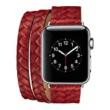 Leather Watch Band 38mm for iWatch Series 3/2/1, CASEOWL Woven Double Tour Style Women/Men Wrist Strap Replacement Band with Secure Metal Clasp for All Apple Watch Series-38mm,Dark Red+Silver Buckle