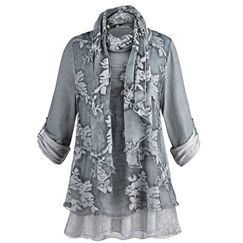 CATALOG CLASSICS Women's Night Gardens Tunic and Scarf Set - Sheer Gray Roll-Tab Sleeves - 2X