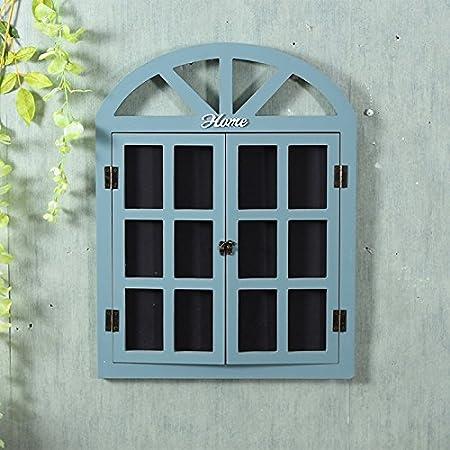 American retro decoraciones hogareñas dejar la ventana pared pizarra decorada con madera persianas , tapices de pared pizarra azul panel falso: Amazon.es: Hogar