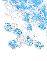 DomeStar 150 Pcs Acrylic Ice Cubes, Clear and Blue
