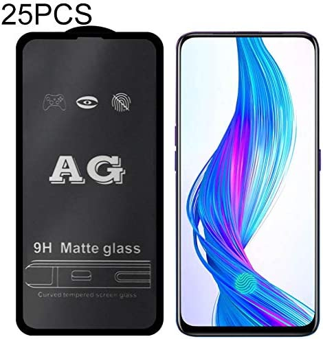 GzPuluz Glass Protector Film 25 PCS AG Matte Frosted Full Cover Tempered Glass for Oppo Realme X Lite