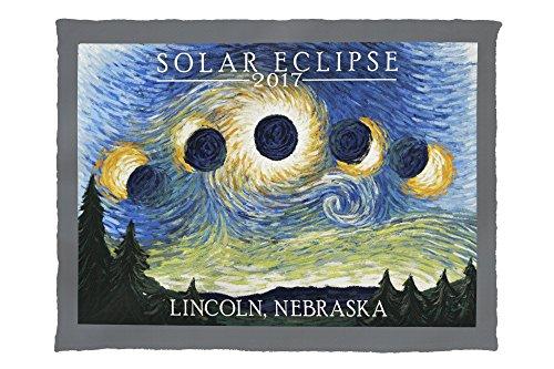 Lincoln, Nebraska - Solar Eclipse 2017 - Starry Night (60x80 Poly Fleece Thick Plush Blanket) by Lantern Press