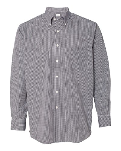 Van Heusen V0225 Mens Long-Sleeve Yard-Dyed Gingham Check - Black, Large