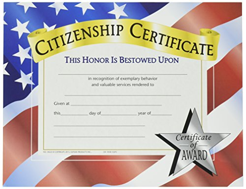 Hayes Certificates - Hayes Citizenship Certificate, 8-1/2 X 11 in, Paper, Pack of 30