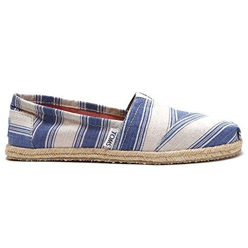 Navy Flat Stripe Shoe Blue (TOMS Womens Canvas Slip On (Navy Umbrella Stripe) 7)