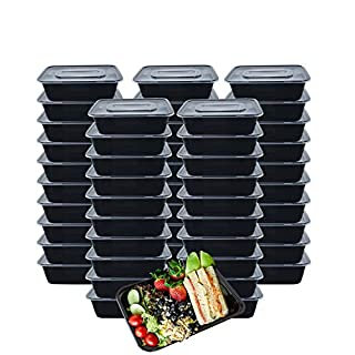 Meal Prep Containers, 50 Pack Reusable Plastic Bento Box, 25 OZ/750ml Disposable Containers with Lids for Food Storage - Freezer, Microwavable and Dishwasher Safe