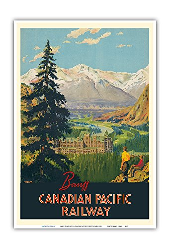 (Banff Springs Hotel - Canadian Rockies - Canadian Pacific Railway - Vintage Railroad Travel Poster by Percy Trompf c.1930s - Master Art Print - 13in x 19in)