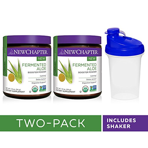 New Chapter Organic Aloe Powder – Fermented Aloe Booster Powder for Calming + Detox Action + Digestive Support – 45 Servings with Shaker Cup (Pack of 2) by New Chapter Powder